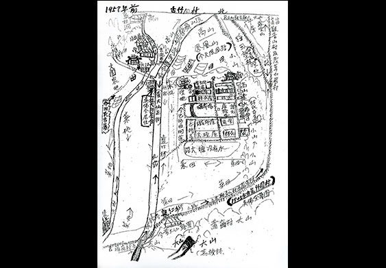 手绘的竹园村地图