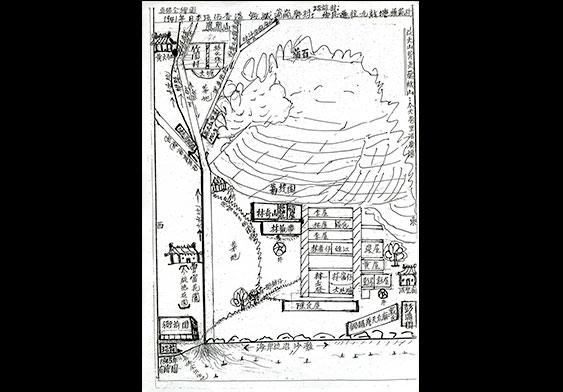 手绘的蒲岗村地图